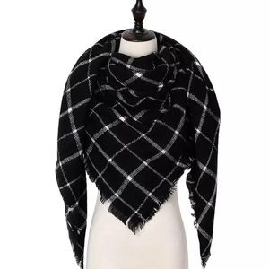 Black & White Plaid Cashmere Blanket Scarf